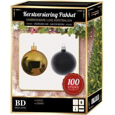 100 stuks kerstballen mix goud-zwart voor 150 cm boom