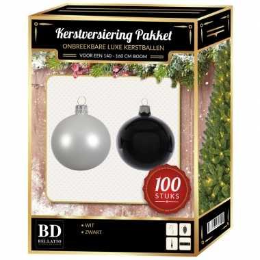100 stuks kerstballen mix wit-zwart voor 150 cm boom