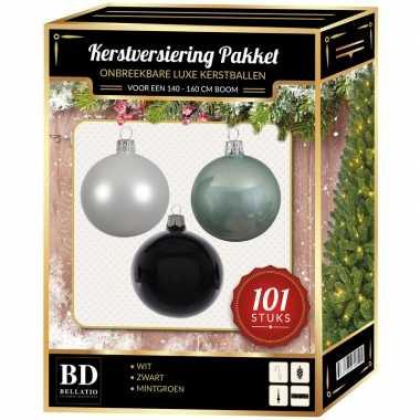 101 stuks kerstballen mix wit-mint-zwart voor 150 cm boom