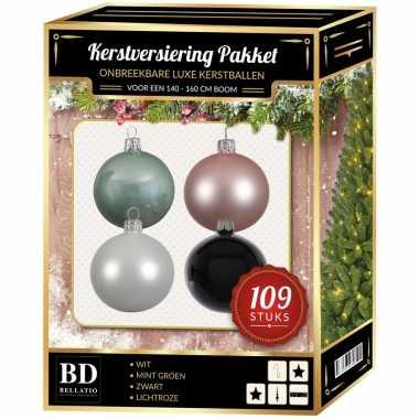 109 stuks kerstballen mix wit-roze-mint-zwart voor 150 cm boom