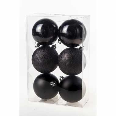 12x kerstversiering zwarte kerstballen van kunststof 8 cm
