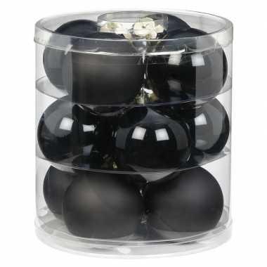 12x zwarte glazen kerstballen 8 cm glans en mat