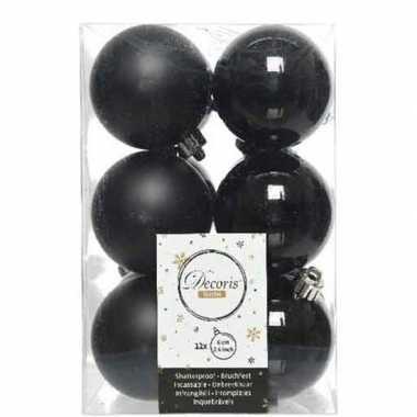 12x zwarte kerstballen 6 cm kunststof mat/glans