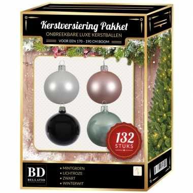 132 stuks kerstballen mix wit-mint-roze-zwart voor 180 cm boom