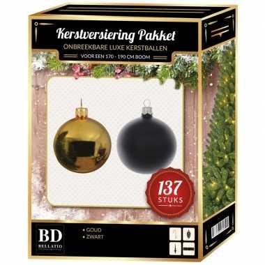 137 stuks kerstballen mix goud-zwart voor 180 cm boom