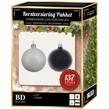 137 stuks kerstballen mix wit-zwart voor 180 cm boom