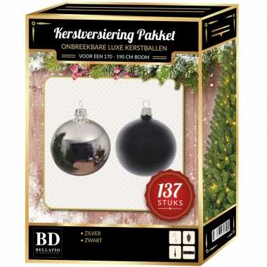 137 stuks kerstballen mix zilver-zwart voor 180 cm boom