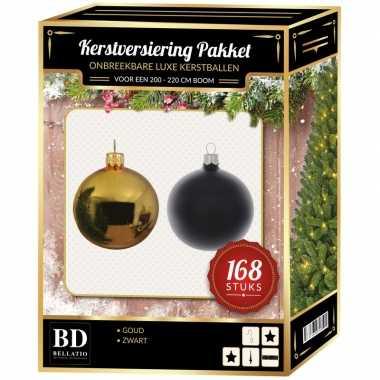 168 stuks kerstballen mix goud-zwart voor 210 cm boom