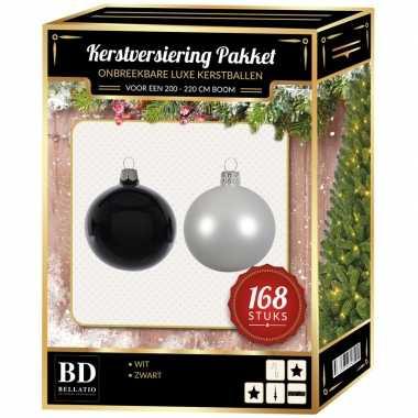168 stuks kerstballen mix winter wit-zwart voor 210 cm boom