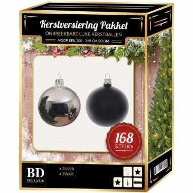 168 stuks kerstballen mix zilver-zwart voor 210 cm boom