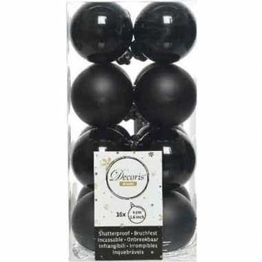 16x zwarte kerstballen 4 cm kunststof mat/glans
