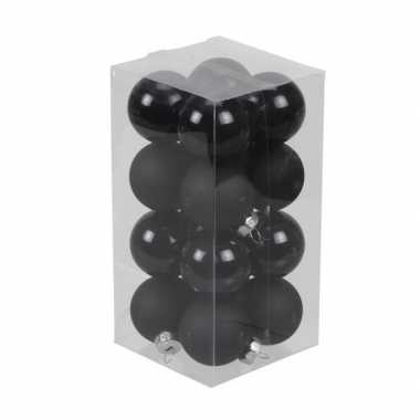 16x zwarte kleine glazen kerstballen 3,5 cm mat/glans