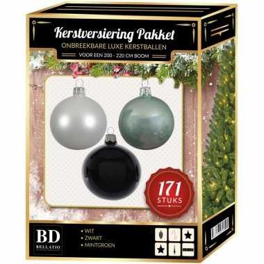 171 stuks kerstballen mix wit-mint-zwart voor 210 cm boom
