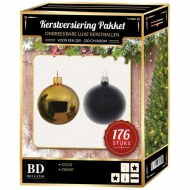 176 stuks kerstballen mix goud-zwart voor 210 cm boom