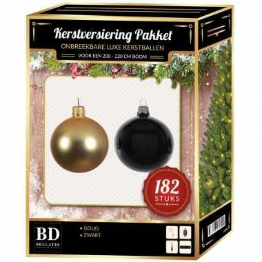 182 stuks kerstballen mix goud-zwart voor 210 cm boom