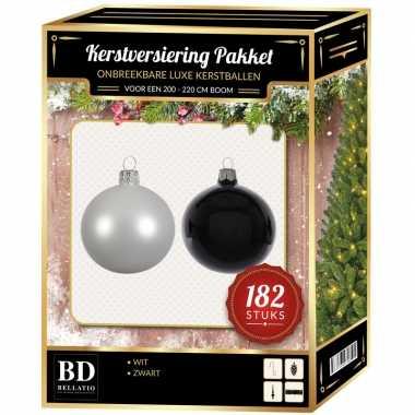 182 stuks kerstballen mix wit-zwart voor 210 cm boom
