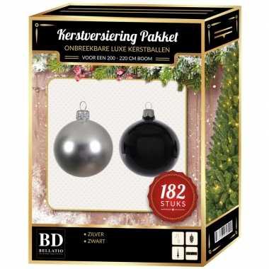 182 stuks kerstballen mix zilver-zwart voor 210 cm boom