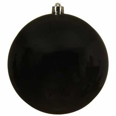 1x grote zwarte kerstballen van 14 cm glans van kunststof