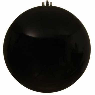 1x grote zwarte kerstballen van 20 cm glans van kunststof
