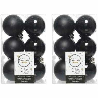 24x zwarte kerstballen 6 cm kunststof mat/glans