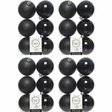 24x zwarte kerstballen 8 cm kunststof mat/glans