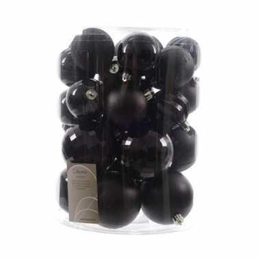 30 zwarte kerstballen assorti 6 cm