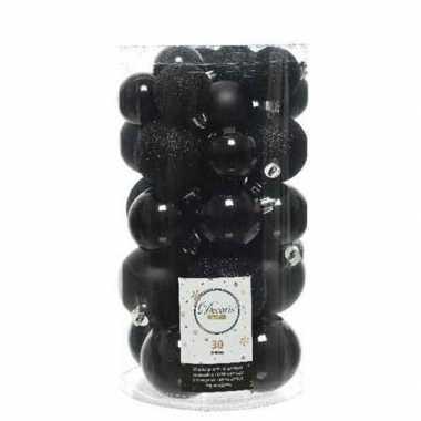 30x zwarte kerstballen 4 - 5 - 6 cm kunststof mat/glans/glitter