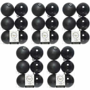 30x zwarte kerstballen 8 cm kunststof mat/glans