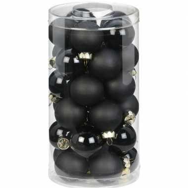 30x zwarte kleine glazen kerstballen 4 cm glans en mat