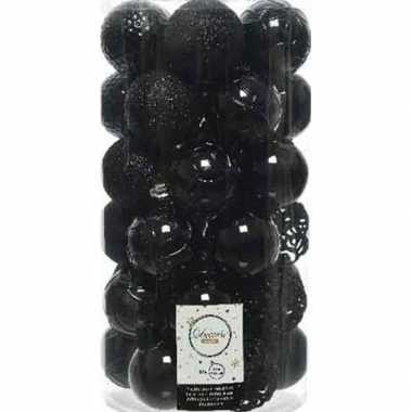 37x zwarte kerstballen 6 cm kunststof mix