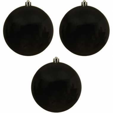 3x grote zwarte kerstballen van 14 cm glans van kunststof