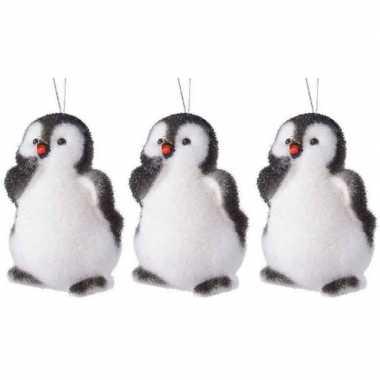 3x kersthangers figuurtjes pinguin 9 cm