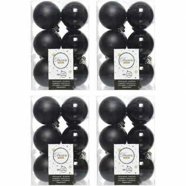 48x zwarte kerstballen 6 cm kunststof mat/glans