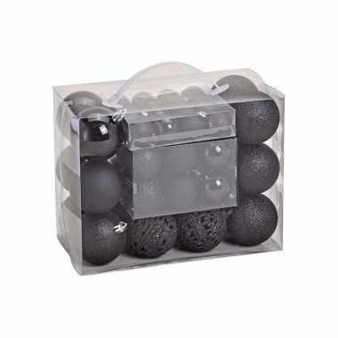 50x zwarte kunststof kerstballen 3, 4 en 6 cm