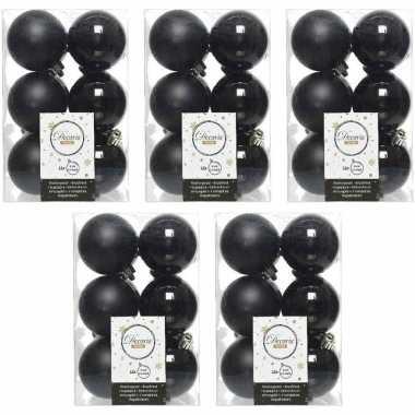 60x zwarte kerstballen 6 cm kunststof mat/glans