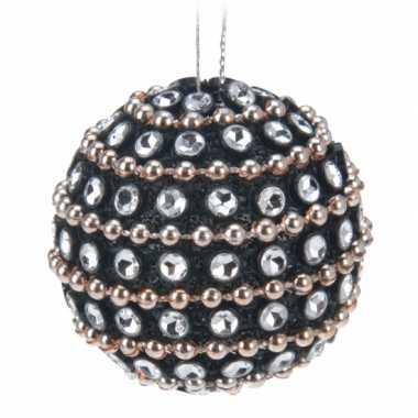 6x kerstboomversiering zwarte kerstballen met steentjes 3,5 cm