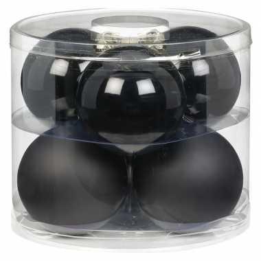 6x zwarte glazen kerstballen 10 cm glans en mat