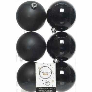 6x zwarte kerstballen 8 cm kunststof mat/glans