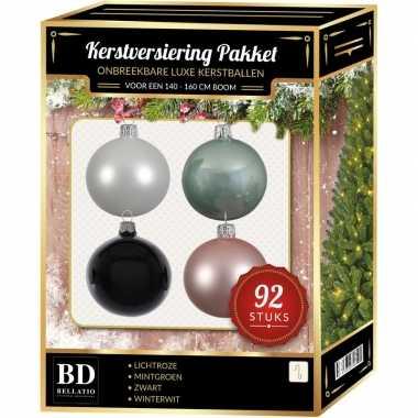 92 stuks kerstballen mix wit-mint-roze-zwart voor 150 cm boom