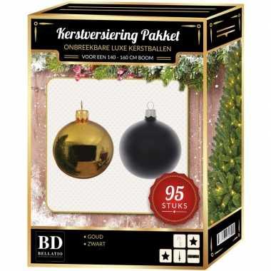 95 stuks kerstballen mix goud-zwart voor 150 cm boom
