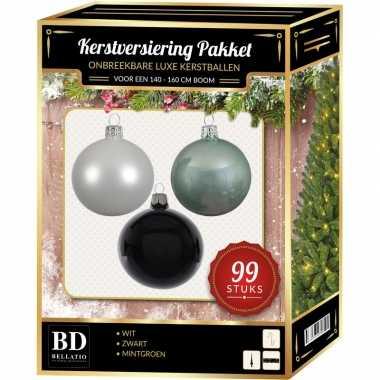 99 stuks kerstballen mix wit-mint-zwart voor 150 cm boom
