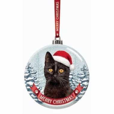 Fout kerstkado dieren kerstbal 7 cm kat/poes zwart