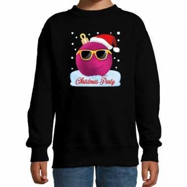Foute kersttrui / sweater coole kerstbal zwart voor meisjes