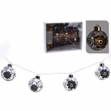 Kerst decoratie ballen slinger met led verlichting zwart