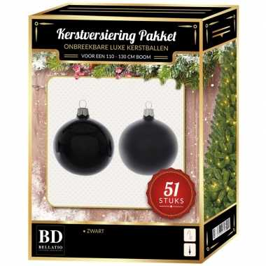 Kerstbal en ster piek set 51x zwart voor 120 cm boom