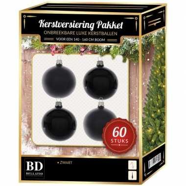 Kerstbal en ster piek set 60x zwart voor 150 cm boom