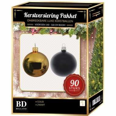 Kerstballen set kunststof 90-delig voor 150 cm boom goud/zwart