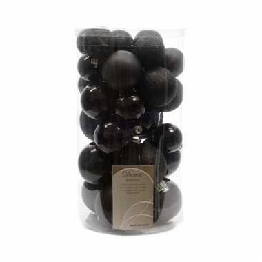 Kerstballen zwart glitter mat glans 30 stuks