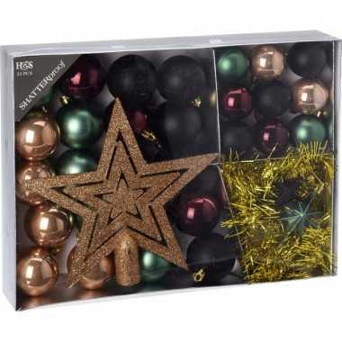 Kerstboom decoratie set 33 delig groen zwart brons 10097618