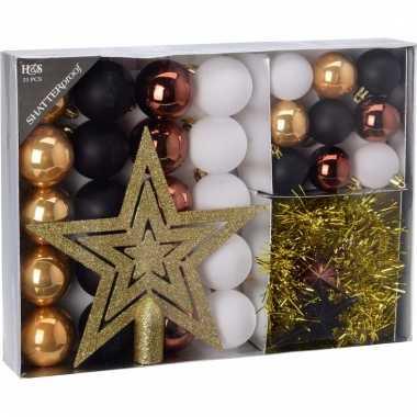 Kerstboom decoratie set 33 delig woods classics